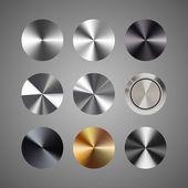 Vector metal conical gradients button set — Stock Vector