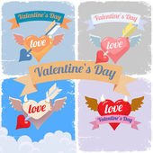 Valentines day, flying hearts set — Stock Vector