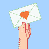Envelope in hand, valentines, vector illustrate — Vector de stock