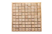 Set of simple multiplication tables wooden block — Stock Photo