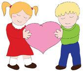 Erkek ve kız çocuk kalbi taşımak — Stok Vektör