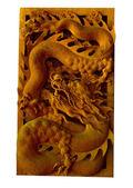 Wood dragon sculpture — Stock Photo