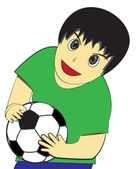 Little Boy carry soccer ball — Vecteur
