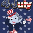 Elephant head man cartoon cheerful in 4 july independent day — Stock Vector