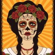 Frame with mexican skull girl — Stockvectorbeeld