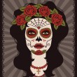Frame with mexican skull girl — Vector de stock #32477531
