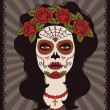 图库矢量图片: Frame with mexican skull girl