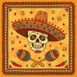 Border with mexican skull and maracas — Stock Vector