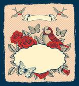 Marco con flores, pájaros y mariposas — Vector de stock
