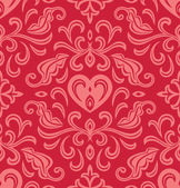 Seamless floral ornate with heart — Stock Vector