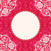 Pink floral lace background — Stock Vector