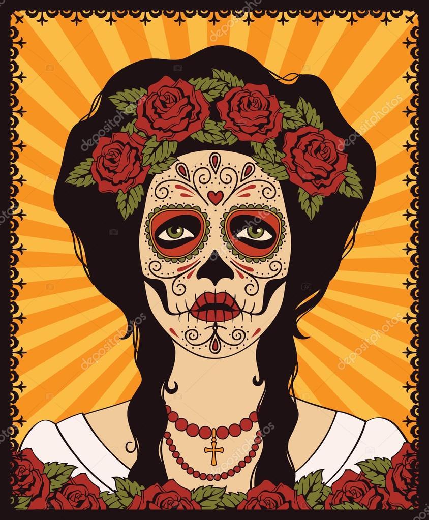 Женщина с лицом черепа мексиканская
