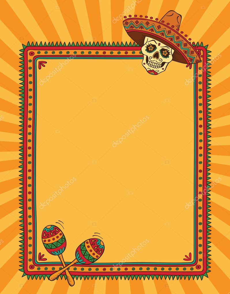 frame with mexican skull in sombrero stock vector