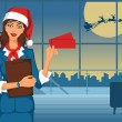 Stock Vector: Santa girl standing in airport