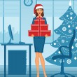 Woman in santa hat — Stock Vector
