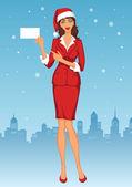 圣诞老人帽子的女人 — 图库矢量图片