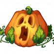 Frightened pumpkin — Stock Vector