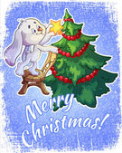 Christmas card with a hare and a Christmas tree — Stock Vector