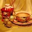 Decoration for Christmas and New Year, cup of coffee — Stock Photo