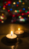 Candles on the background lights, bokeh — Stock fotografie