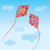 The hearts kites — Stockvector