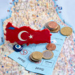 Magnet with Turkish symbols, coins and tickets on the map. — Stock Photo