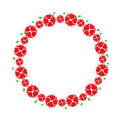 Wreath of red flowers like hearts — Stock Vector