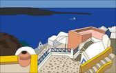 The traditional architecture of Santorini, Oia, vector. — Stock Vector