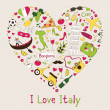 Stock Vector: Italy symbols in heart shape