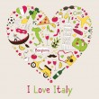 Italy symbols in heart shape — Stock Vector