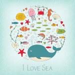 Cute marine life — Stock Vector