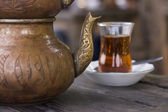 Old copper Turkish teapot — Stock Photo