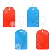 Set of winter and Christmas tags with snowflakes — Stock Vector