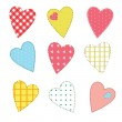 Set of cute stitched hearts with seamless patterns for your design — Stock Vector #34793151