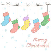 Cute stitched Christmas socks with seamless patterns — Vector de stock