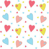 Stitched hearts background with seamless pattern included — Stock Vector