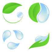 Set of eco icons with green leaves and pure water — Stock Vector