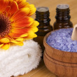 Natural body care,SPA concept: lavender sea salt and aroma oil — Stock Photo