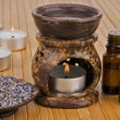 Aromatherapy lamp with oils and dried lavender — Stok fotoğraf
