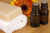 Natural body care, SPA concept: organic lavender soap and aroma oil — Stock Photo