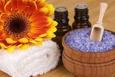 Natural body care,SPA concept: lavender sea salt and aroma oil — Stock Photo