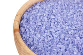 Sea salt enriched with lavender oil in wooden bowl — Photo