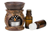 Aromatherapy lamp and oils — Stock Photo