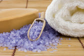 Natural body care set: sandal soap and lavender sea salt — Stock Photo