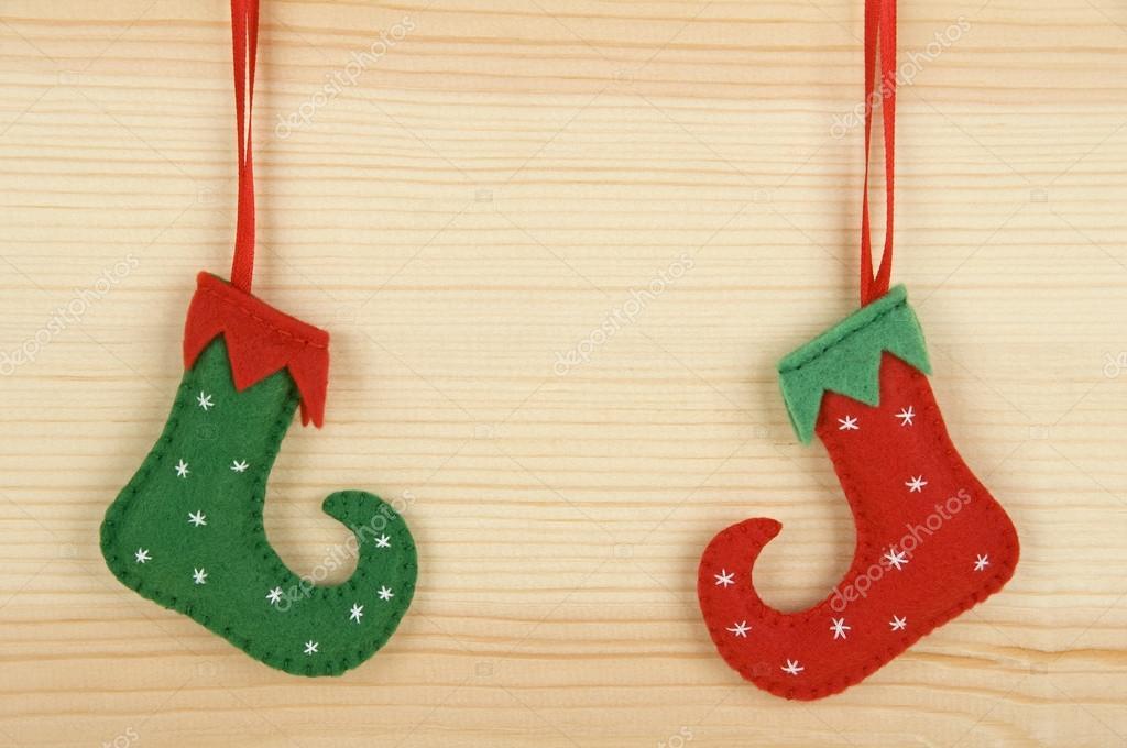Adornos navide os hechos a mano fieltro zapatos de duende - Adornos de navidad hechos a mano ...