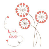 Greeting card with hearts-flowers in hand drawn style — Stock Vector