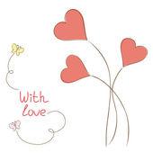 Tarjeta de felicitación con flores corazones dibujados en la mano estilo — Vector de stock