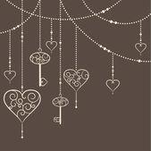 Vintage hearts and keys garland — Stock Vector