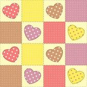Fond de patchwork avec des coeurs — Vecteur