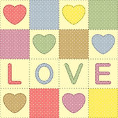 Hearts and love in patchwork style — Vector de stock